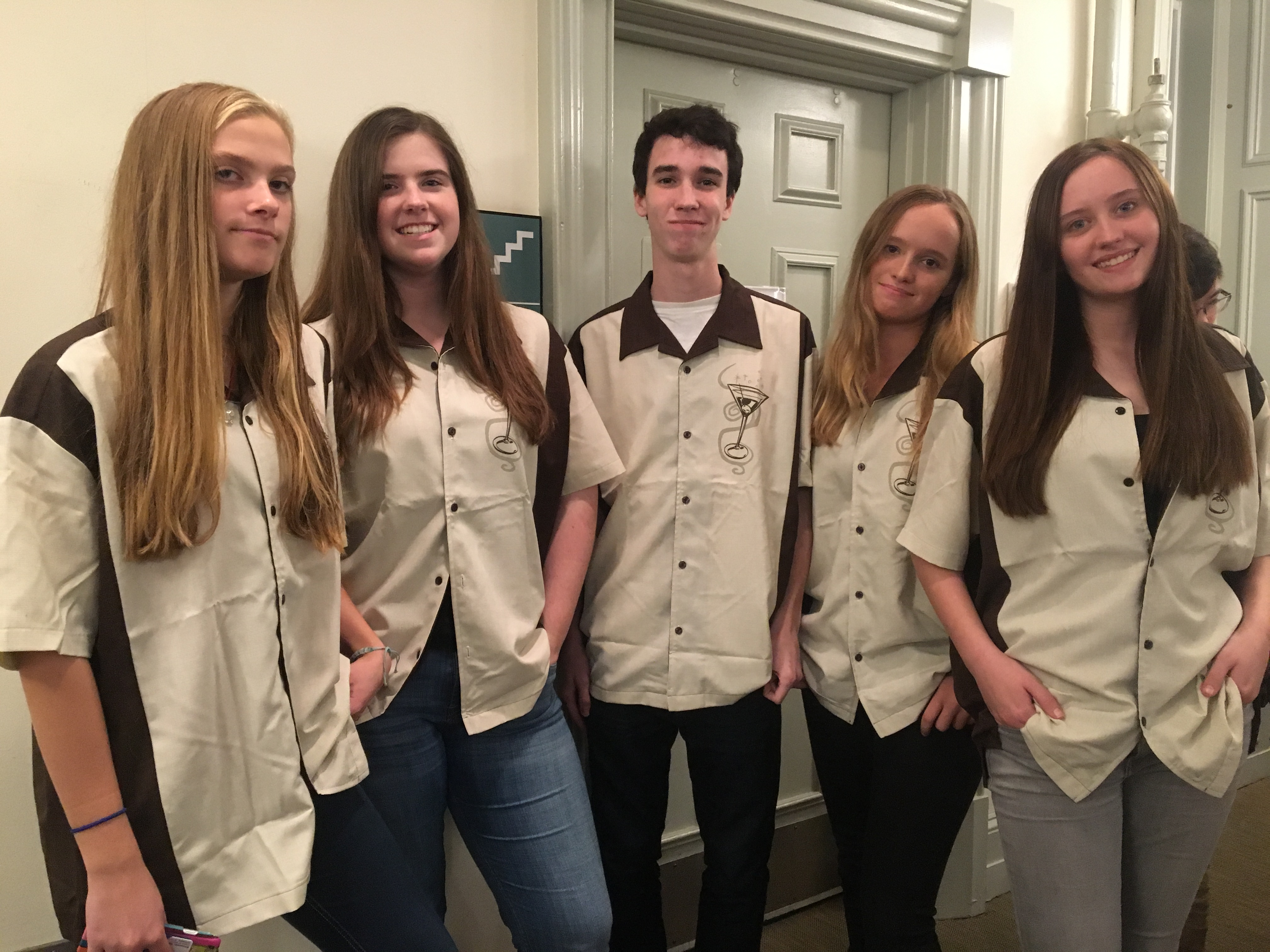 """Bowling Team (Elizabeth Montfort, Kelsey Jackman, Aiden Riano, Elise Sigety, Gardner Coates): """"'Twas definitely a strike.""""- Aidan Riano"""